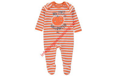 baby sleep suit white orange stripes infant wear - Copy